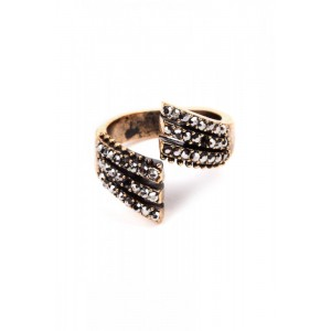BRONZE & QUARTZ OPEN RING