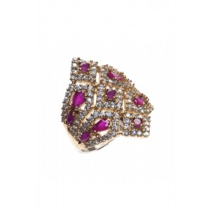 Purple Crystal & Silver Small Ring