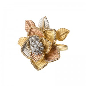 GOLD PLATED LEAVES FLOWER RING