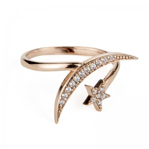 ROSE GOLD STAR & MOON RING