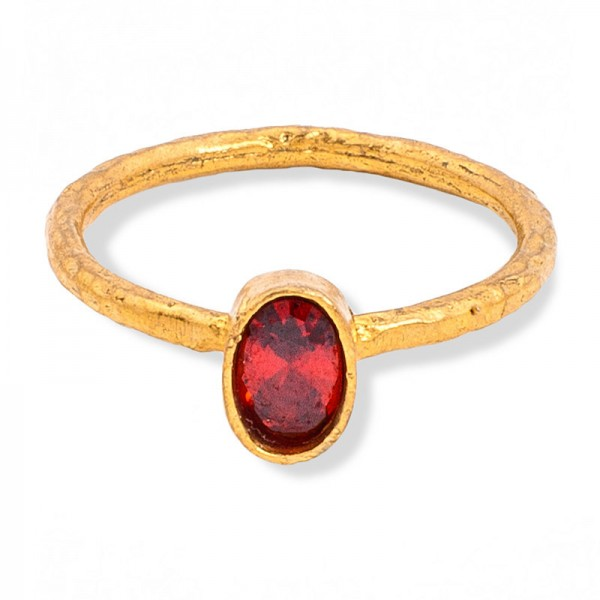 Gold & Red Crystal Bead Ring