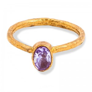 Gold & PURPLE Crystal Bead Ring