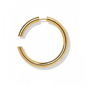 Disrupted 40 High Polished Gold Earring