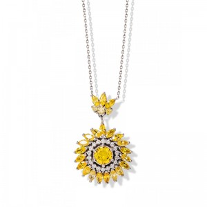 YELLOW & WHITE FLOWER SILVER NECKLACE