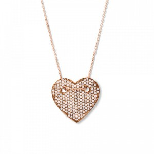 CRYSTAL HEART ROSE GOLD NECKLACE