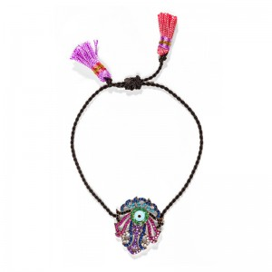 MULTICOLORED CHARM BRACELET BLACK CORD & TASSELS