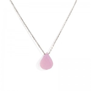 DROP SHAPPED PINK CRYSTAL NECKLACE