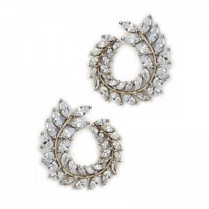 SILVER WREATH STUD HOOPS
