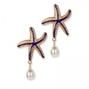 NAVY STARFISH PEARL DROP EARRINGS