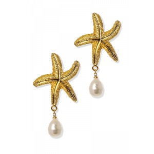 GOLDEN STARFISH PEARL DROP EARRINGS