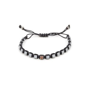 Small Black Stones Orange Cube Bracelet