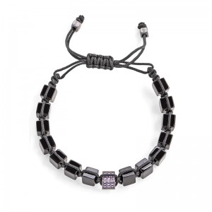 BLACK STONES PURPLE CUBE BRACELET