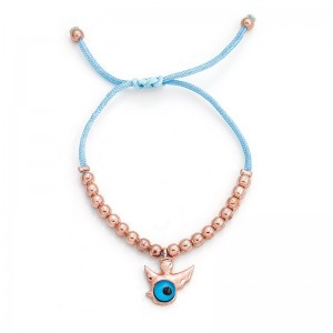 LIGHT BLUE EVIL EYE CORD BRACELET