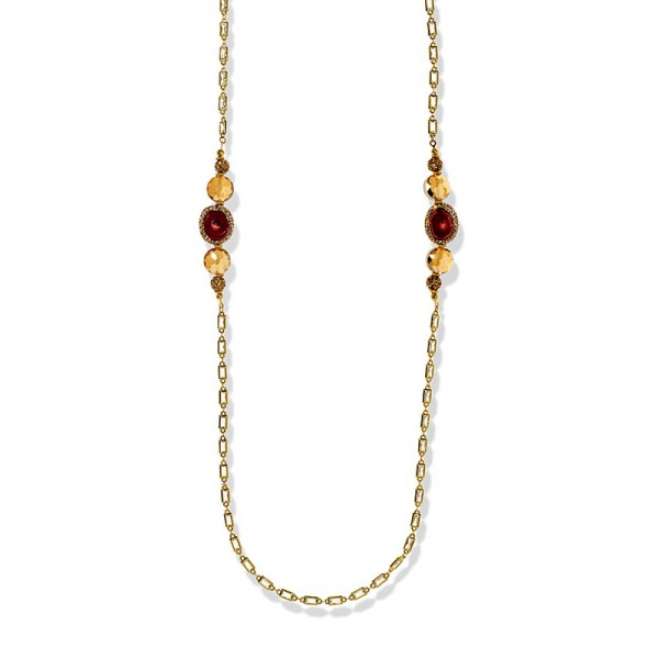 GOLD PLATED CRYSTAL AND CORAL NECKLACE