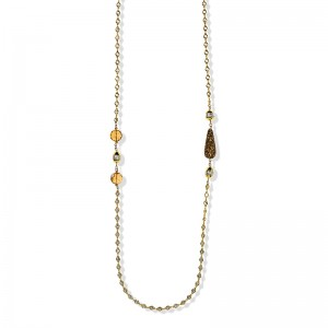 GOLD PLATED CRYSTAL, QUARTZ AND PEARL NECKLACE