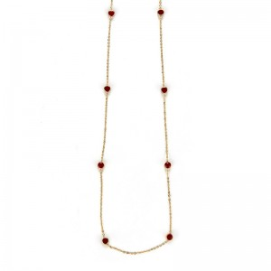 GOLD PLATED CHAIN WITH RED ENAMEL