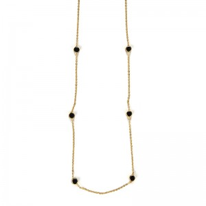 GOLD PLATED CHAIN WITH BLACK ENAMEL