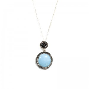 BABY BLUE SILVER NECKLACE