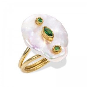 GREEN ZIRCON PEARL RING