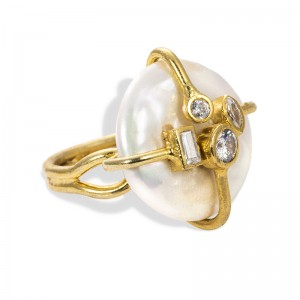 WHITE ZIRCON PEARL RING