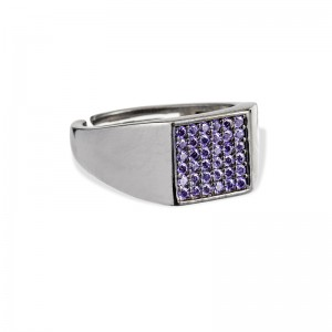 PURPLE CRYSTALS SQUARE RING