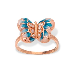 PINK GOLD BUTTERFLY BLUE